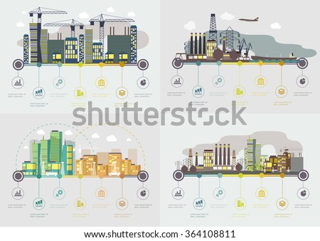 Flat design vector images set. Info graphic illustration with urban landscape and industrial factory buildings. - stock vector