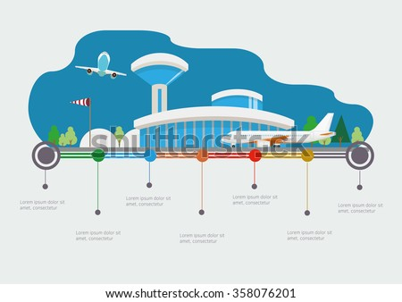 Flat design vector info graphic illustration  with airport and time line - stock vector