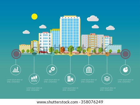 Flat design vector info graphic illustration  with urban landscape and industrial factory buildings.  - stock vector
