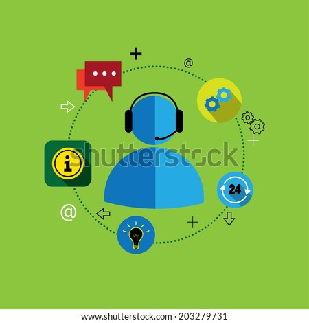 flat design vector of customer support & services or contact. This graphic also represents concepts customer centric solutions, support services, customer management - stock vector