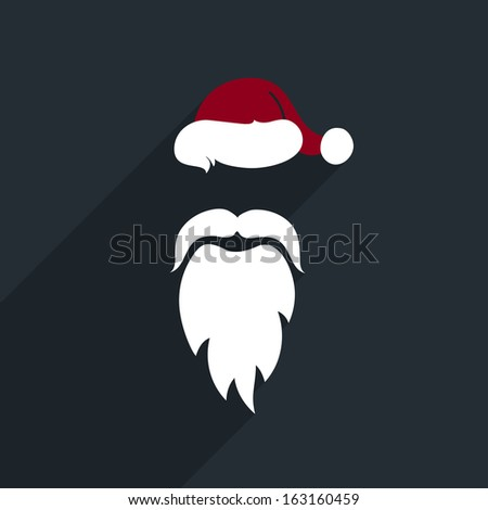 Flat Design Vector Santa Claus Face. Icon. Greeting Card. - stock vector