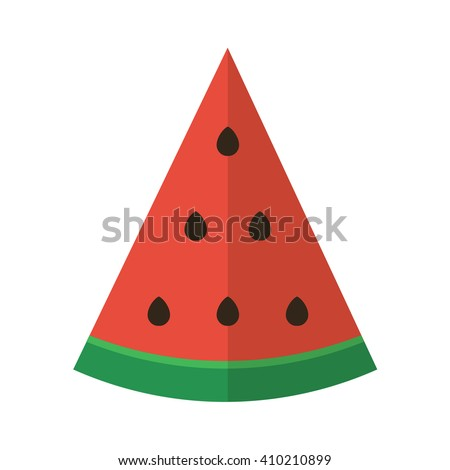 Flat design vector slice of watermelon isolated on white background.