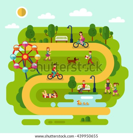 Flat design vector summer landscape illustration of park with sunbathing girl, ferris wheel, road, bench, walking people, cyclists, pond with ducks, boy with ball, children playing with dog.