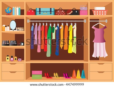 Flat Design walk in closet with shelves for accessories and cosmetic make up, interior design, Clothing store, Boutique indoor of woman's cloths, conceptual Vector illustration. - stock vector