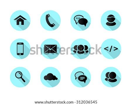 Flat design web, communication icons: internet. Vector illustration - stock vector