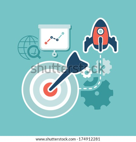 Flat design. Web marketing. Search engine optimization - stock vector