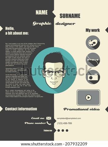 Flat design web portfolio - vector illustration - stock vector