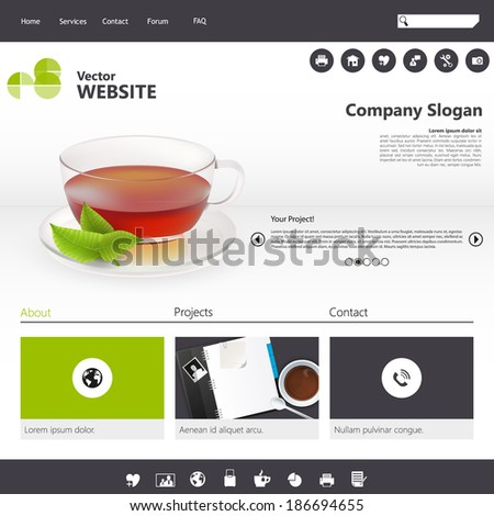 Flat Design / Website Template with photorealistic tea cup and mint.  - stock vector