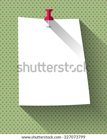 Flat design white sticky note paper attached with red pin on dots pattern background. Vector Illustration - stock vector