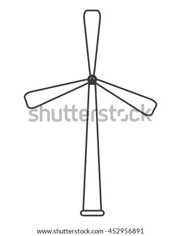 flat design wind turbine icon vector illustration