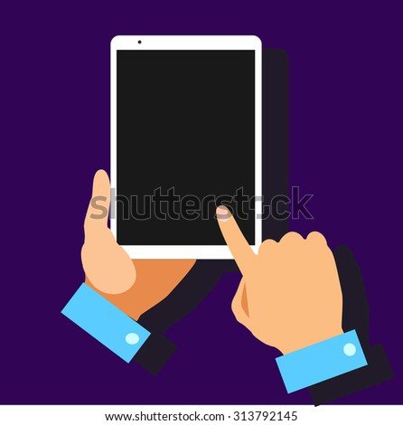 Flat design with hands holding mobile devices and wearing technology products.