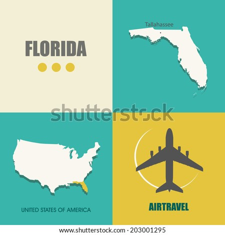 flat design with map Florida concept for air travel - stock vector