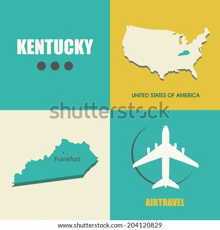 flat design with map Kentucky concept for air travel - stock vector