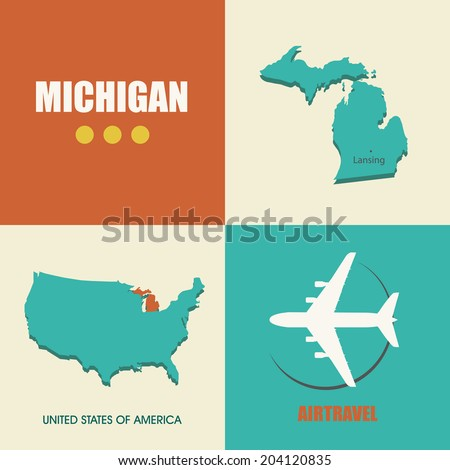 flat design with map Michigan concept for air travel - stock vector