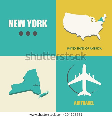 flat design with map New York concept for air travel - stock vector