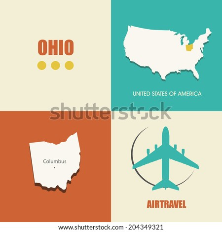 flat design with map Ohio concept for air travel - stock vector