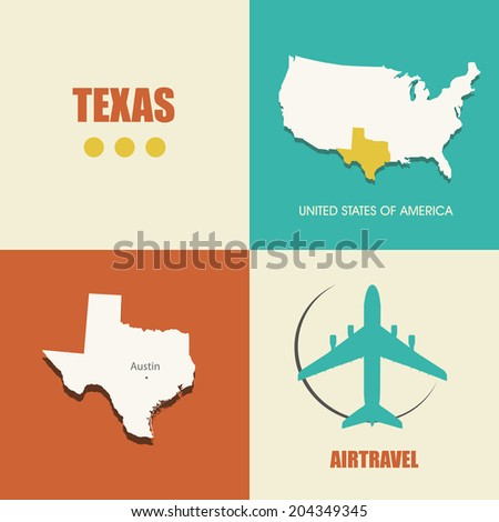 flat design with map Texas concept for air travel - stock vector