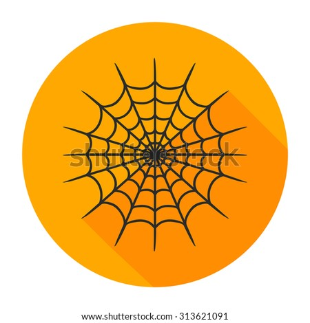 Flat design with shadow cobweb - stock vector