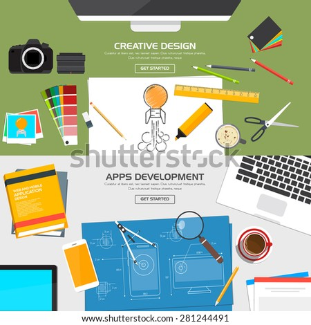 Flat Designed Banners Concept of Creative Design and Apps Development. Icons Collection of Creative Work Flow Items and Elements. Vector - stock vector