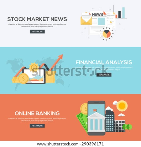 Flat Designed Banners Concept of Stock market news, Financial analysis and online banking. Icons Collection of Creative Work Flow Items and Elements. Vector - stock vector
