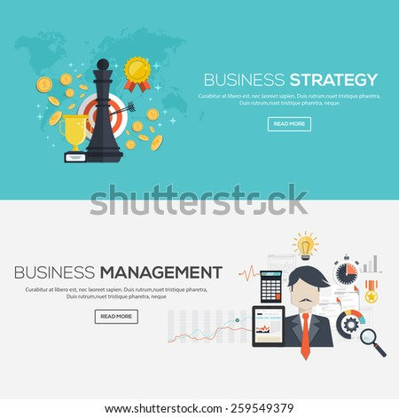 Flat designed banners for Business strategy and Business management. Vector - stock vector