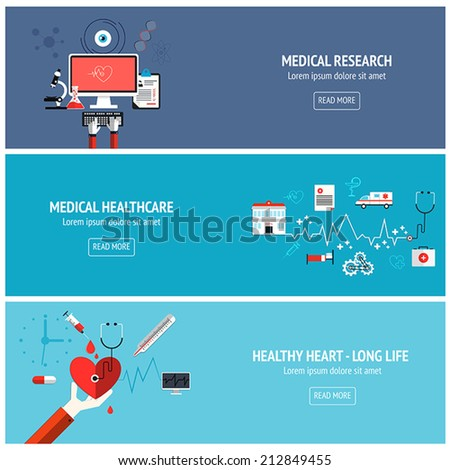 Flat designed banners for medical research, medical healthcare and helthy heart-long life. Vector - stock vector