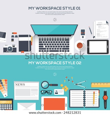 Flat designed banners for My desktop style design. Vector - stock vector