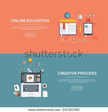 Flat designed banners for online education and creative process. Vector - stock vector
