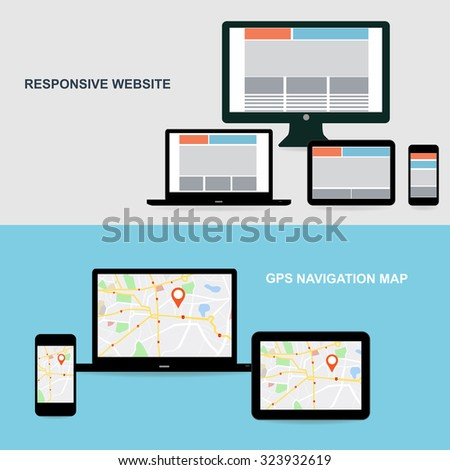 Flat designed banners for responsive website and GPS Navigation map on on media technology devices - stock vector