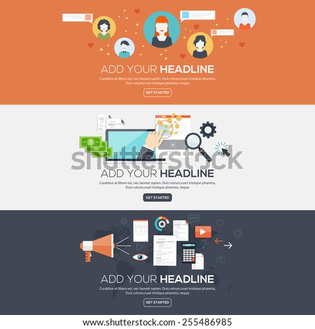 Flat designed banners for social network, pay per click  and digital marketing. Vector - stock vector