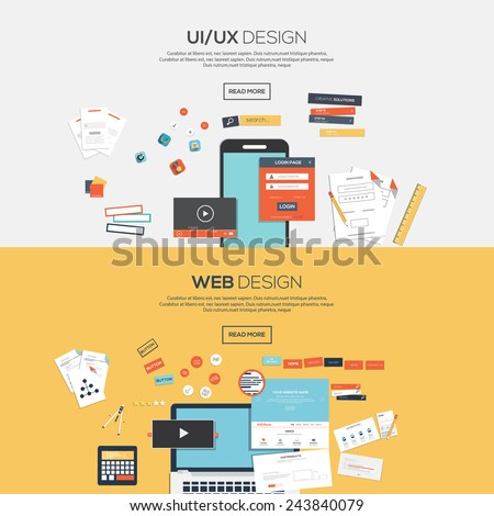Flat designed banners for ui-ux design andweb design. Vector - stock vector