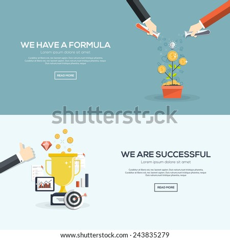 Flat designed banners for we have a formula and we are successful. Vector - stock vector