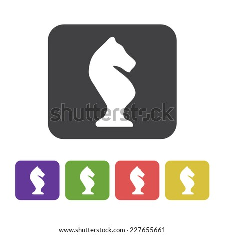 Flat designed hand drawn chess icon in different colors. Business concept. Idea. Logic. Strategy - stock vector