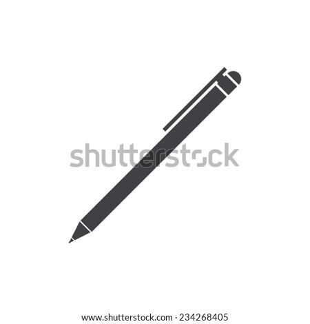 Flat designed round pen icon. Business concept. Idea. Logic - stock vector