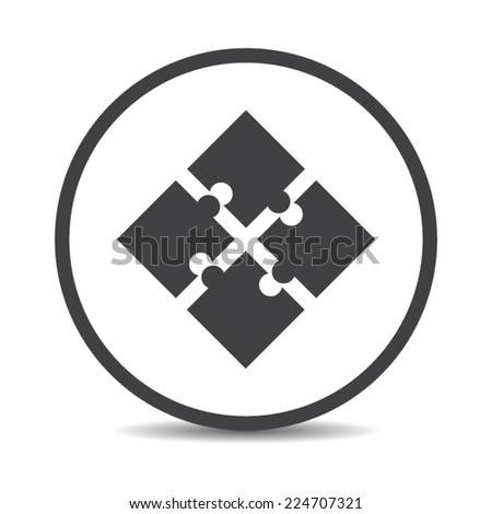 Flat designed round puzzle icon. Business concept. Idea. Logic - stock vector