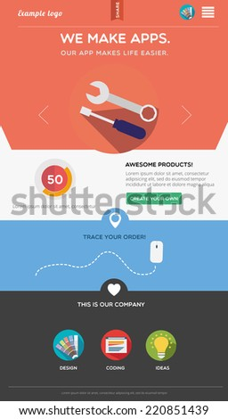 Flat designed web template - stock vector