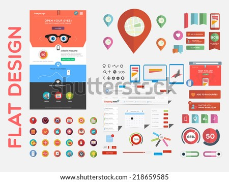 Flat designed web template and a large collection of icon sets - stock vector