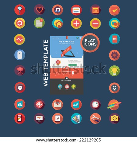 Flat designed web template and icon set - stock vector