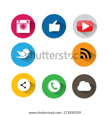 flat designs of camera, like, messenger bird, phone receiver, website, share - social network vector icons. This also represents approval, vote, saying yes, recommendation, appreciation, endorsement - stock vector