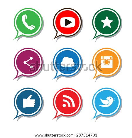 flat designs of camera, like, messenger bird, phone receiver, website share - social network vector chat icons. This also represents rss syndication, cloud computing, playing video - stock vector