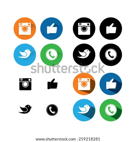 flat designs of digital camera, like hand symbol, thumbs up, messenger bird and telephone receiver - social media network vector icons collection set. - stock vector