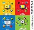 flat designs of website design, application & app development vectors. This graphic also represents internet marketing, social media marketing, search engine optimization or seo, responsive design - stock vector
