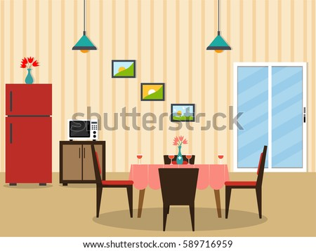Flat Desing Interior Of A Dining Room