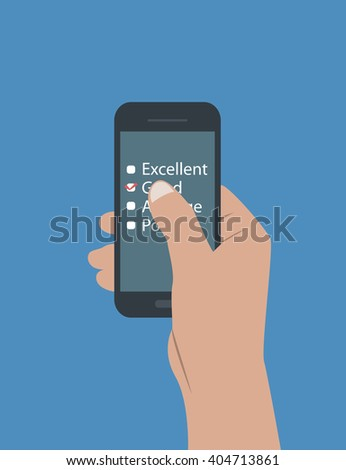 flat desing of hands holding a tablet and touching and doing a feedback, vote, review and rate. the illustration can be used in many topic like requesting the opinion of customers about some services