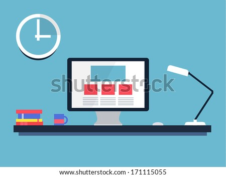 Flat desktop, workspace. Vector - stock vector