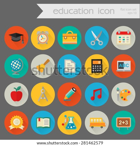 Flat detailed education colored icons on colored circles - stock vector