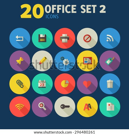 Flat detailed office colored icons set 2 on colored circles - stock vector