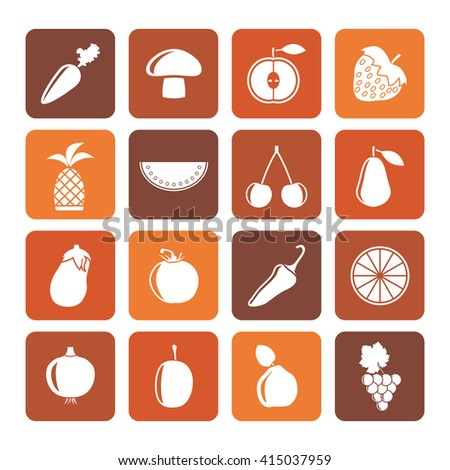 Flat Different kinds of fruits and Vegetable icons - vector icon set - stock vector