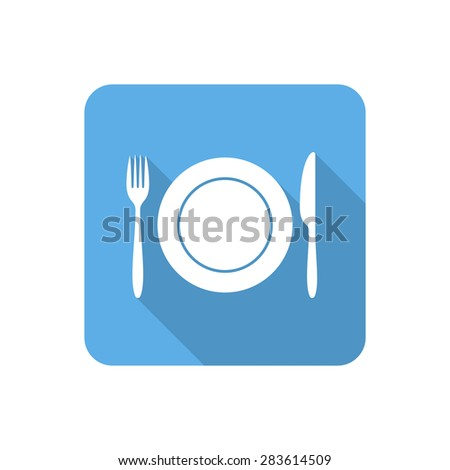 Flat dining icon with long shadow. Vector illustration - stock vector