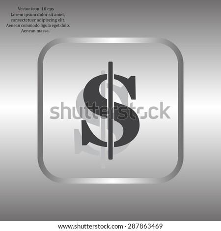 Flat dollar icon - stock vector
